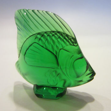 R Lalique France Miniature Crystal Signed Green Fish