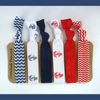 6 Elastic HAIR TIES Sailor Anchor Red White and by CrownedPeacock