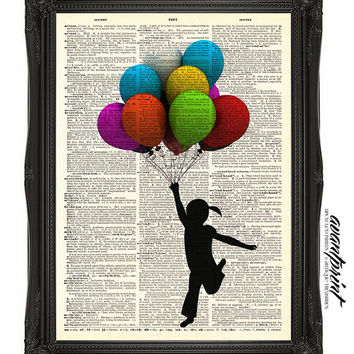 Up and Away Little Girl with Balloons Print on an Unframed Upcycled Bookpage