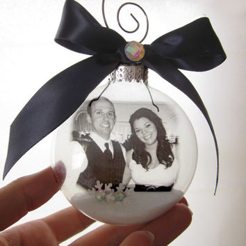 Crystals and Snow Glass Photo Ornament  - Large Over 3 Inches