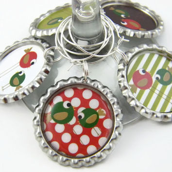 Wine Glass Charms , Festive Party Favors , Christmas Table Decoration