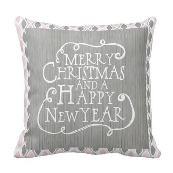 Pink and Gray Christmas Pillow