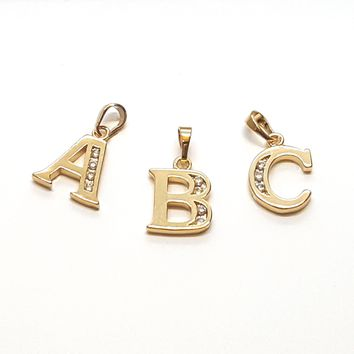 "(1-2451-h8) Gold Overlay CZ Letter Initials Pendant, 3/4""."