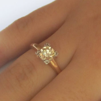 The Perfect Vintage Fine Buttery Champagne Diamond Solitaire Engagement Ring .75 Carat VS Clarity 14k Gold Wedding Ring