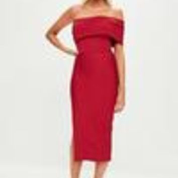 Missguided - Red Bandage One Shoulder Split Midi Dress