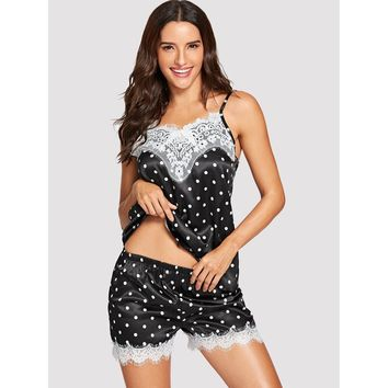Black And White Polka Dot Contrast Lace Pajama Set