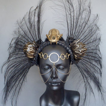 MADE TO ORDER Gold Skull & Black Feather Headdress Warrior