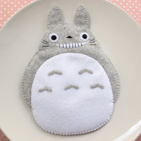 Totoro My Neighbour Big Cute Smile Grey iPhone4 iPhone5 Camera Felt Case button closure Fairytale Samsung Galaxy S2