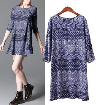 Stylish Round-neck Three-quarter Sleeve Vintage Print Cotton Women's Fashion One Piece Dress [5013253252]