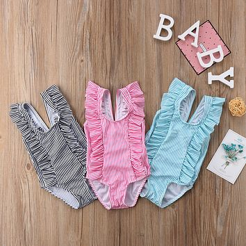 Toddler Kid Baby Girls Swimwear Swimsuit Bikini Set Ruffles Striped Bathing Suit Newborn Beachwear Costume