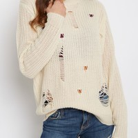 Ivory Destroyed Chunky Knit Sweater | Sweaters | rue21