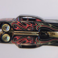 Vintage  1959 Chevy Impala Custom Black Gold Red Paint  Gold Color Bottom Gold Color Wheels 1996 Hot Wheels Dropped Lowrider 1/64 DIECAST