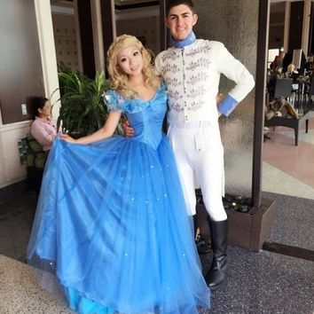 Cinderella Prince Charming Cosplay Costume Embroidery White Uniform Outfit Halloween Costumes for Men/Kids Carnaval Disfraces