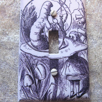 Light Switch Cover - Light Switch Plate Alice in Wonderland With The Caterpillar Wall Decor