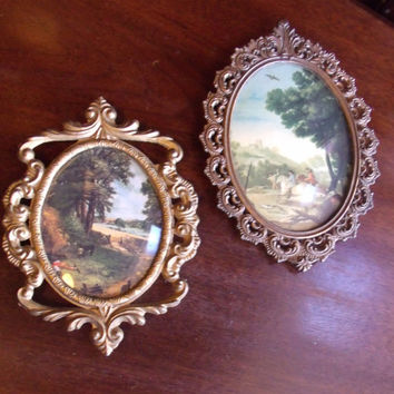Vintage Metal Frames Italy, 2 Prints &  Convex Dome Glass Frames