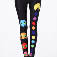 "ROMWE | ""Pac-Man"" Black Leggings(Arrival until Mar.10th), The Latest Street Fashion"
