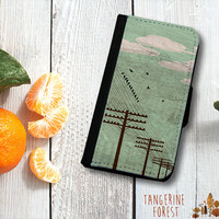 Birds On A Wire Wallet Phone Case. iPhone 4//4s or 5//5s. Samsung Galaxy S3 or S4.