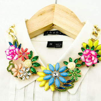Elegant Crystal Flower Statement Necklace Bib Bubble Chunky Choker Pendant in Yellow Red Blue Green Gift for Women Bridesmaid Bride