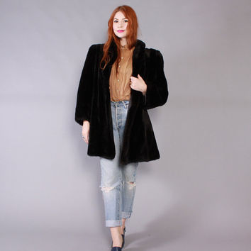 Vintage 80s FUR COAT / 1980s Oversized Insanely Soft Black Sheared beaver Fur Winter Coat