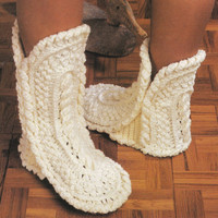 Pattern Vintage Crochet boot slippers Shoes Crochet Pattern Vintage Pattern PDF Instant Download slippers epsteam vtg Pattern crochet shoes
