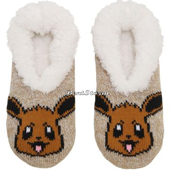 Licensed cool Pokemon EEVEE Cozy Fluffy Faux fur Slippers Socks Anti Slip Soles Nintendo NWT