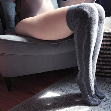 Grey Cable Over the Knee socks | Cable Knit Thigh Hi Socks | Made in USA Socks at Between the Sheets