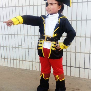 Halloween Party Supplies Pirate Capain Jack Cosplay Boy Clothing Halloween Costume for Kids Children Christmas Costumes
