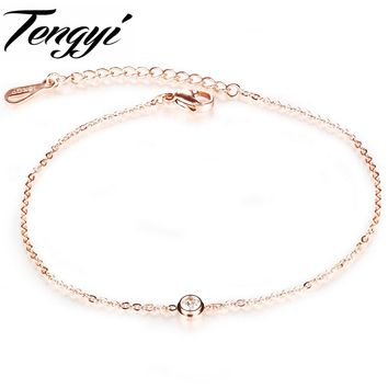 TENGYI Newest Rose Gold Color Anklets Fashion Women Crystal Foot Chan Bracelet Party Gift Bangle 2 Pcs A  Lot Jewelry TY013