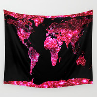 World Map : Pink Galaxy Sparkle Wall Tapestry by Whimsy Romance & Fun
