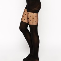 ASOS | ASOS Polka Dot Over The Knee Tights With Support Detail at ASOS