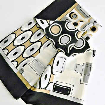 Vintage Silk Scarf, MOD Abstract Print Scarf, Modern, Black White Gray & Tan Geometric Print Scarf.