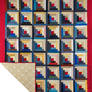 Custom Order,Handmade Rustic Log cabin Patchwork Quilt Double,King or Queen Bed Throw, Blanket, BedSpread,Blue, Beige