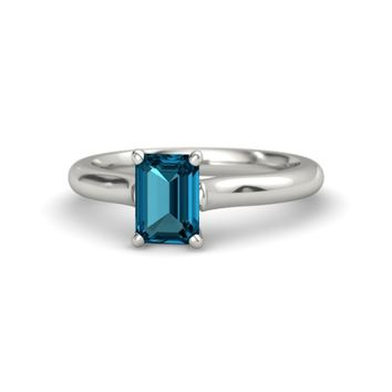 Emerald-Cut London Blue Topaz Platinum Ring