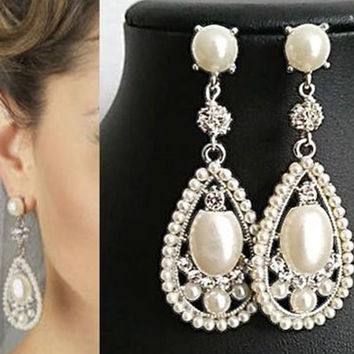 Bridal Dangle Drop Earrings, Wedding Pearl and Crystal Earrings,