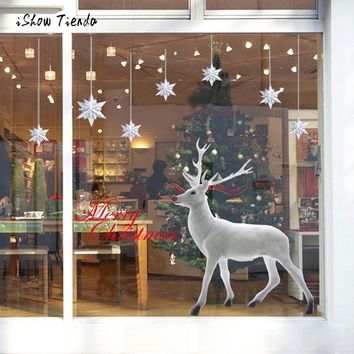 New Fashion Window Stickers Christmas Deer Removable Wall Sticker Art Home Decor Decal Wall Art Cute Christmas Deer Hot Sale