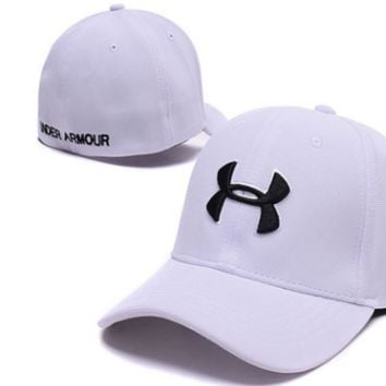 Trendy Under Armour Print Cotton Baseball Cap Hat-White