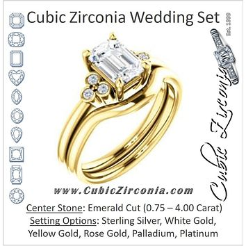 CZ Wedding Set, featuring The Irene engagement ring (Customizable Emerald Cut 7-stone with Round Bezel Accents)