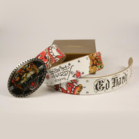 Perfect ED HARDY Woman Fashion Smooth Buckle Belt Leather Belt