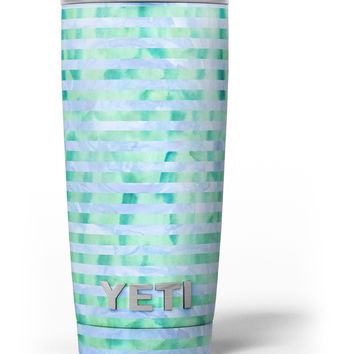 Blue and Green Watercolor Stripes Yeti Rambler Skin Kit