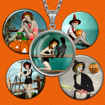 Halloween Pin Up bottle cap images 1 inch, 16mm for pendants,magnets Digital collage sheet