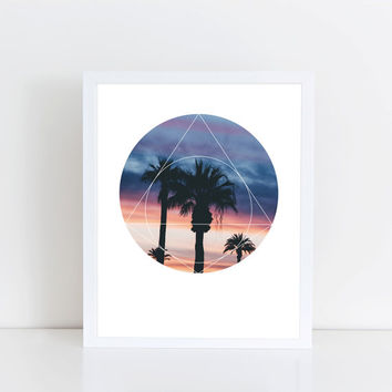 Sunset Palms Art Print - Inspirational Colorful Sky Wall Art, Warm Colors Sunshine Beach Geometric Photography Art, Printable Pyramid Poster