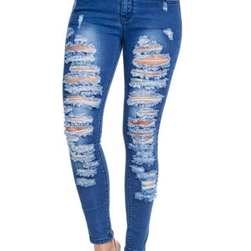 Low-Rise Destroyed Skinny Jeans RJL824 - CC8F