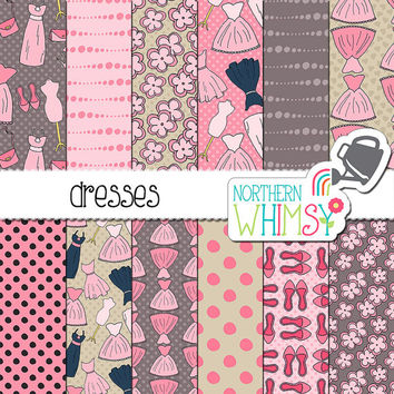 "Fashion Digital Paper:  ""Dresses"" - dress, purse, and shoe seamless patterns in pink and grey - printable scrapbook paper - commercial use"