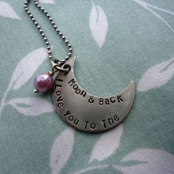 I Love you to the moon and back on a moon pendant Necklace - pink glass pearl charm