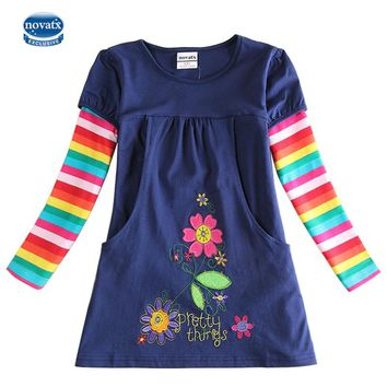 novatx H5802 Retail Brand  New  Kids Clothes Child Blouse Clothing For baby Girls T shirts Top Long Seeve Flower Spring Autumn