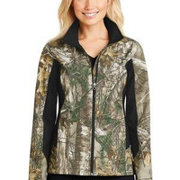 Ladies Camouflage Colorback Soft Shell Jacket