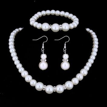 CLEARANCE - Ivory Pearl and Crystal Bead Necklace Bracelet and Earrings Set