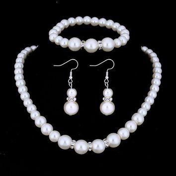 ON SALE - Ivory Pearl and Crystal Bead Necklace Bracelet and Earrings Set