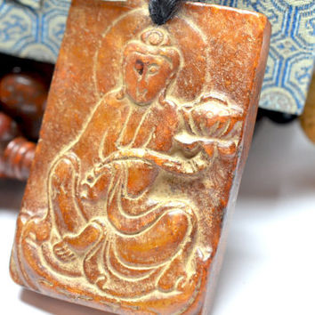 Mercy Yin Buddha Carved Dark Red Jade Amulet Talisman Necklace, Carved Buddhist Mantra, Himalayan Jade Carved Pendant 60x40x10 mm