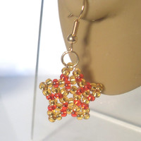 Handmade Beaded Star Earrings! Red & Gold Star Earrings, Christmas Jewellery, Beaded Earrings, Festive Jewellery, Sercret Santa Gift